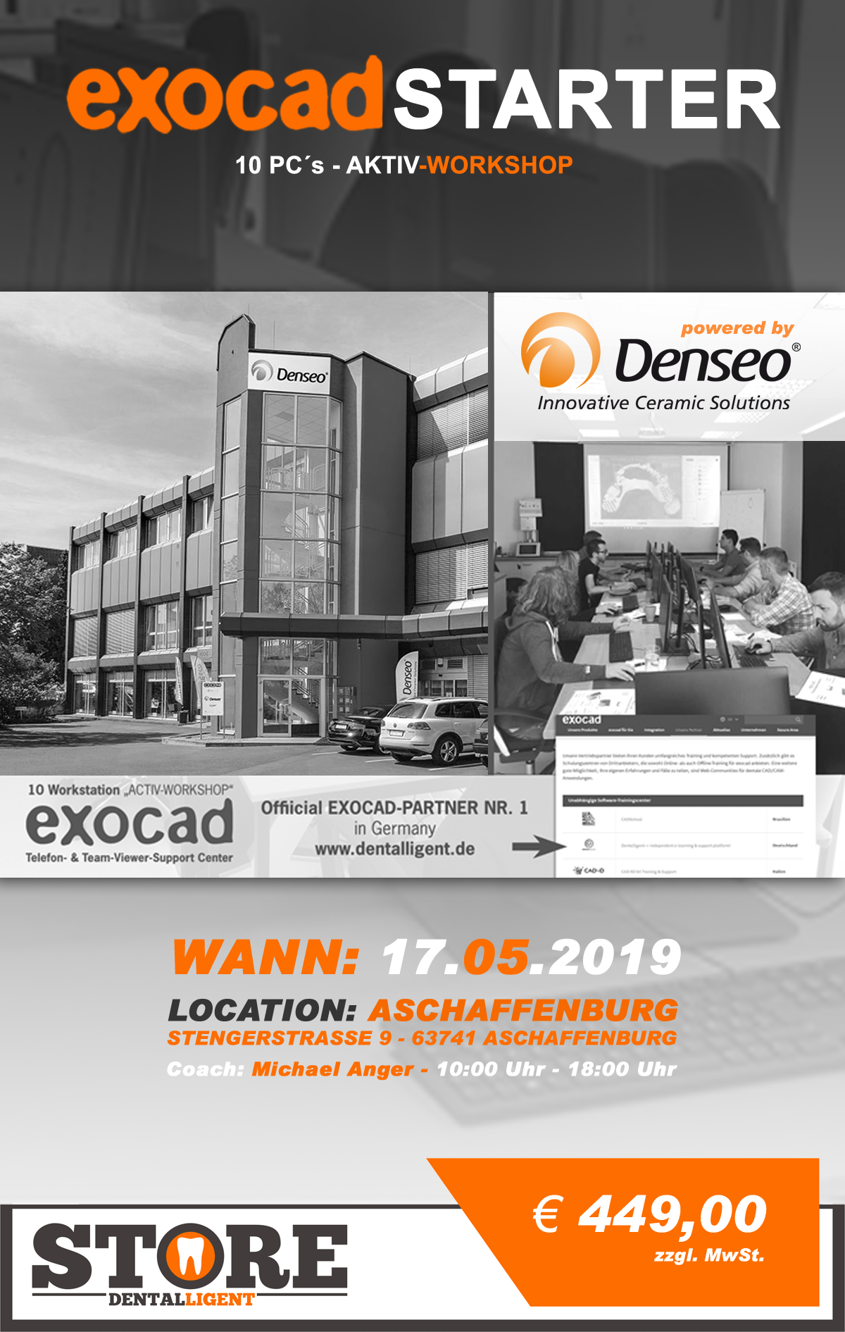 "EXOCAD - STARTER - ""AKTIV WORKSHOP"" mit 10 PC´s -DENSEO GmbH"