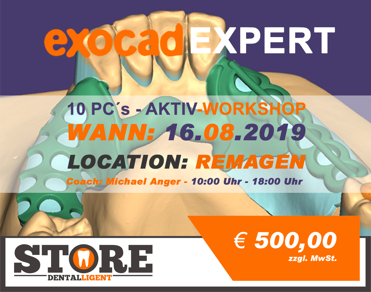 EXOCAD - Experten Seminar - 10 PC´s ACTIV-WORKSHOP