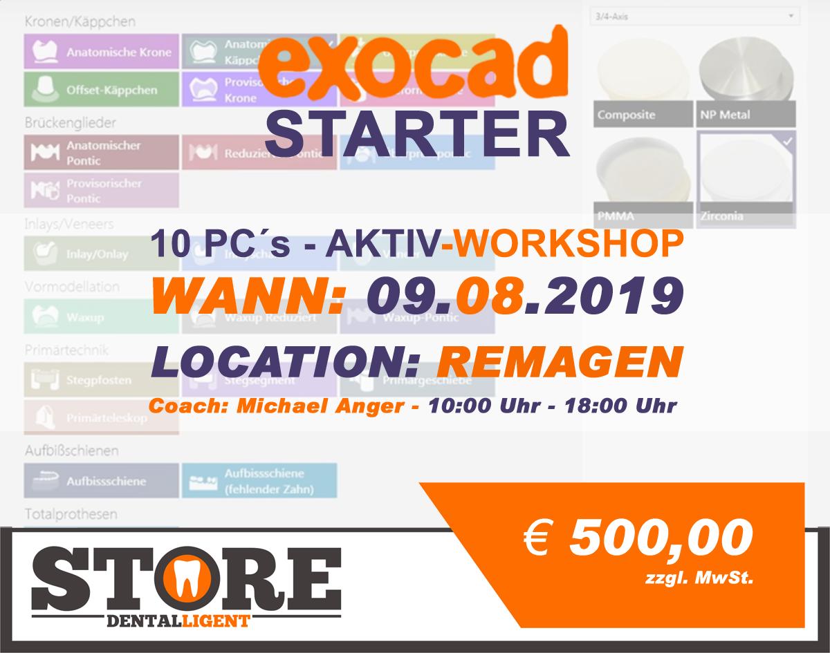 """EXOCAD - STARTER - """"AKTIV WORKSHOP"""" mit 10 PC´s -in REMAGEN"""